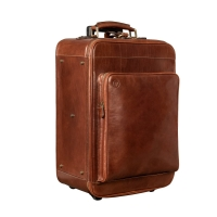 Maxwell Scott The Piazzale Wheeled Leather Trolley